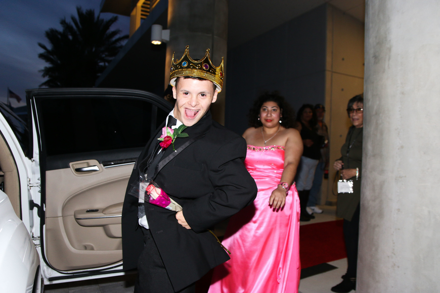 Jay Rodriguez, of Palm Coast, excitedly enters the limo for a ride. Photo by Paige Wilson