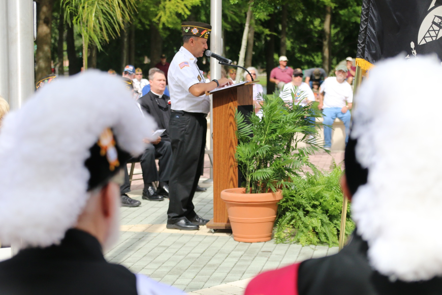 VFW Commander Joe Rosa speaks during the Memorial Day ceremony. Photo by Nichole Osinski