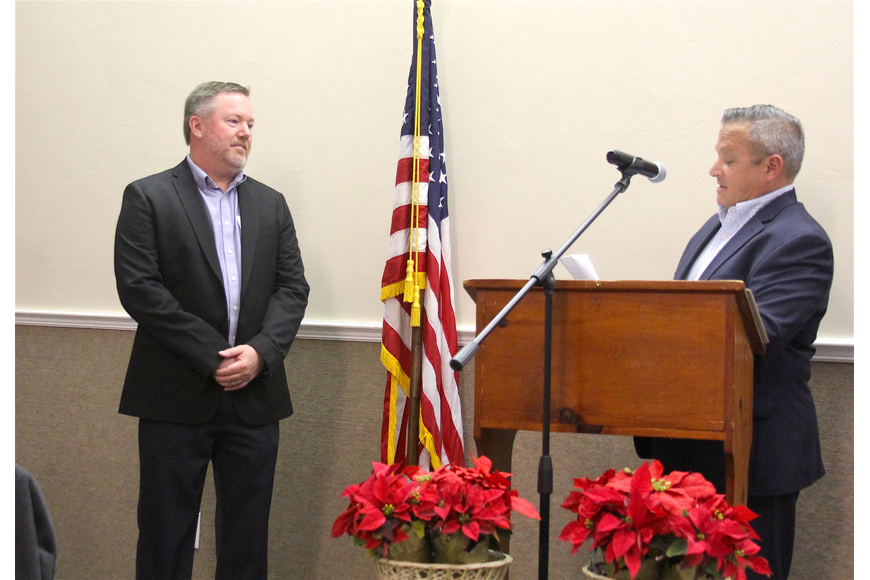 Goepfert is introduced by Past Chairman Nick DeSantis. Photo by Brian McMillan