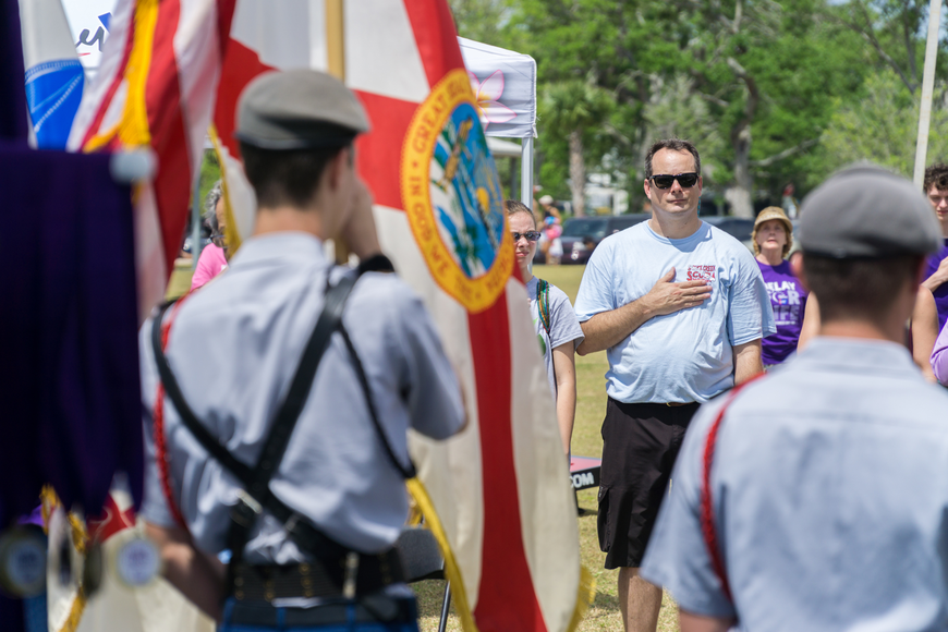JROTC cadets assist with presenting the colors at the 2019 Relay for Life at Riverwalk Park in Port Orange. Photo by Zach Fedewa