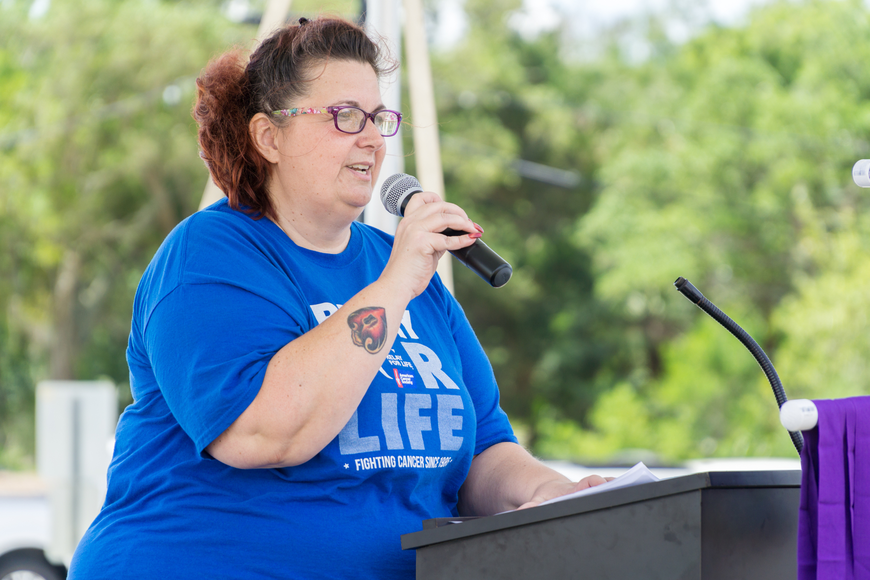 Cheryl Shaw speaks to the supporters at the 2019 Relay for Life at Riverwalk Park in Port Orange. Photo by Zach Fedewa